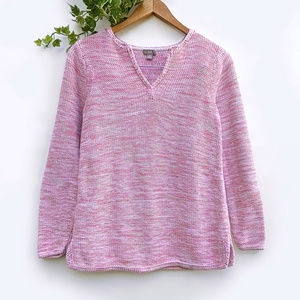 J Jill Pink Marled Chunky Cotton Knit Sweater